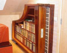 A Piano Converted To Bookshelves