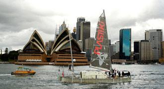 Plastiki Arrives in Sydney Harbour...