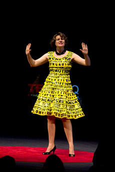 Nancy Judd Wearing Her Caution Tape Dress - Trashion Fashion